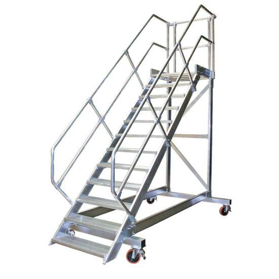 Krause - Könnyűfém gurítható lépcső dobogóval 1000mm 60° 10 fokos - 829092