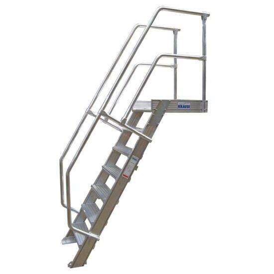 Krause - Könnyűfém lépcső dobogóval 600mm 45° bordázott alu fokkal 6 fokos - 824158