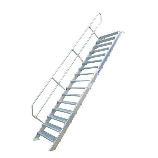 Krause - Könnyűfém lépcső 600mm 45° bordázott alu fokkal 11 fokos - 822406